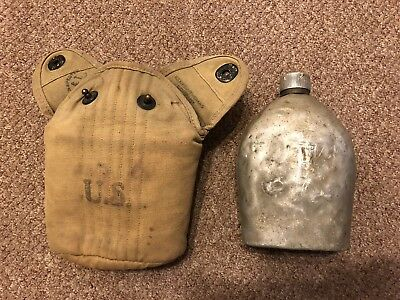 WWI WW1 US Army AEF M1910 Steel Top Canteen With 1918 Dated Cover Field Web Gear