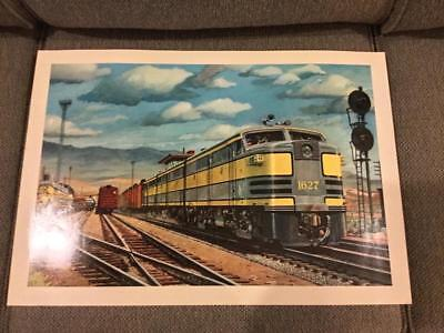 "Howard Fogg Train Print 22"" x 15"" - 1950""s Rail Yard Scene"