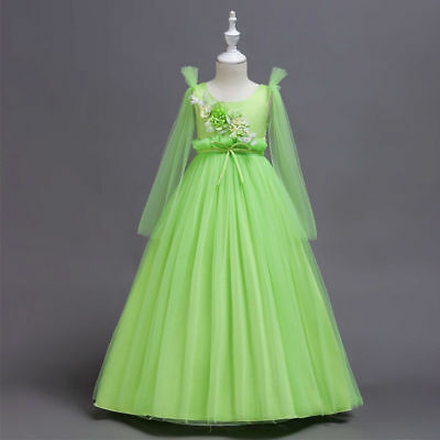 Green Sweet Tulle Girls Flower Dress Lovely Princess Wedding Birthday Party Gown
