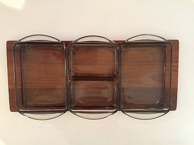 Vintage Mid Century Teak Glass Four Compartment Hors D'oeuvres Serving Tray