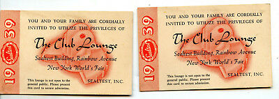 SEALTEST BUILDING 1939 New York World's Fair THE CLUB LOUNGE Set of 2 Tickets