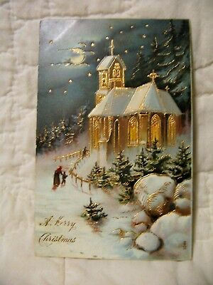 Estate Sale ~ Vintage Embossed Holiday Postcard - A Merry Christmas - 1912