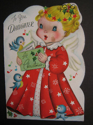 1940s vintage greeting card CHRISTMAS To Daughter Angel in Red Robe & Bluebirds