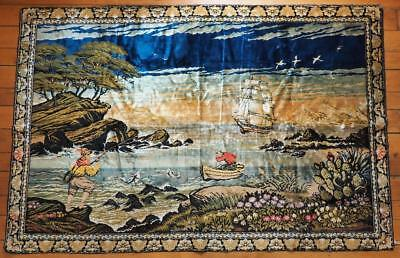 "Vintage Large Cotton Rayon Carpet Wall Tapestry Fishing 48"" by 72"" R.T. Company"