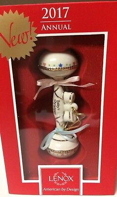 """Lenox 2017 Baby's 1st Christmas Rattle Ornament 4.25"""" - New in Box"""