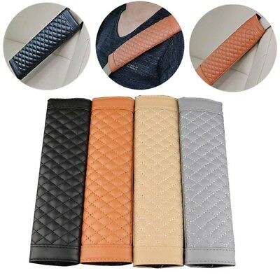 2pcs Car Seat Belt Strap Soft PU Leather Safety Shoulder Cushion Pads Covers