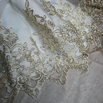 1 Yard 28cm Wide Light Gold Flower Embroidery Lace Trim For Wedding Dress Gown