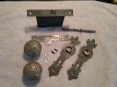 Antique Vintage Solid Brass Door Knobs Lockset AND Face Plates *