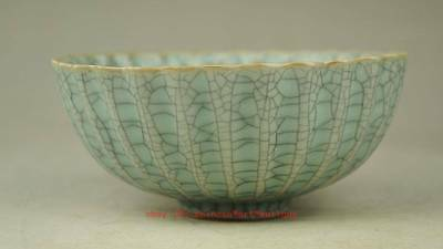 Exquisite Chinese Old Hand-Carved Celadon Glaze Porcelain Bowl