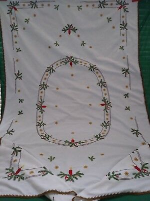 """Vintage Hand Embroidered Christmas Tablecloth German 81"""" candles pine boughs"""