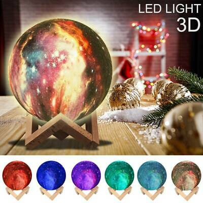 3D Moon Lamp Sky Starry Night Light USB Touch Sensor Lamp Kids Bedroom w/Remoter