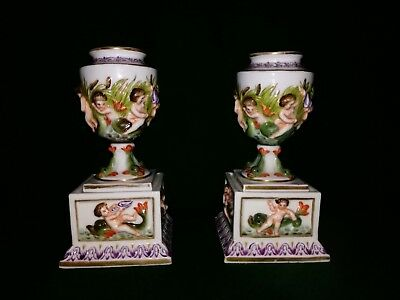 Pair Of Vintage Royal Vienna Style Porcelain Urns/Cassolettes Putto Fish Scenes