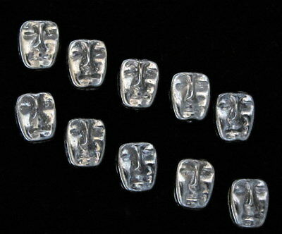 8 Czech Glass Beads Face Mask 2 Sided Bead Face Beads Hematite Gray Color 8 Bead