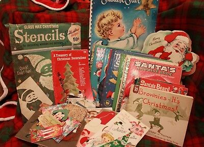 Lot of Vintage Christmas Paper Items Books Cards Stencils Gift Tags Craft