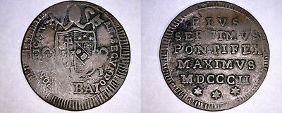 1802-IIR Italian States Papal States 1/2 Baiocco World Coin - Pius VII