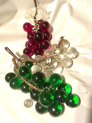 3 GRAPE cluster antique murano art glass table sculpture green Red Clear Leaves