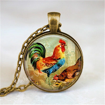 ROOSTER and CHICKEN Pendant Necklace, Rooster Jewelry Farm Barnyard Animal