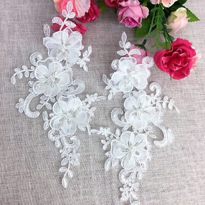 1Pair Ivory 3D Flower Beads Embroidery Lace Applique For Dress Clothes DIY Craft