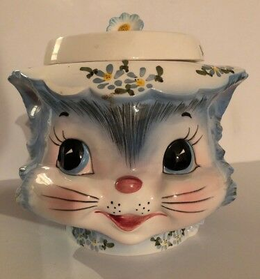 Vintage Lefton Miss Priss Kitty Cookie Jar Blue #1502 with Original Sticker