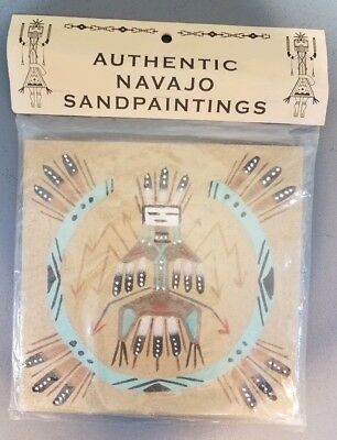 Sand Painting Thunderbird 8 X 8 Inches New Signed Sealed American Indian Navajo