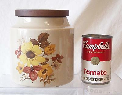 """Vintage Hyalyn Porcelain w/ Wood Lid Round Canister Cookie Jar 6"""" tall Flowers"""