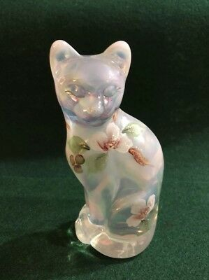 Fenton - Hand Painted - Pearly Stylized Cat - Gorgeous!