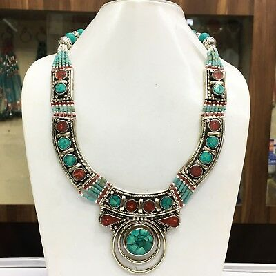 HRN09 - Turquoise & coral Tribal Bohemian Big Necklace