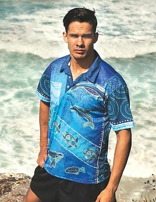 "Adults Unisex ""Ancient Sea"" Polo Shirts with Unique Aboriginal print"