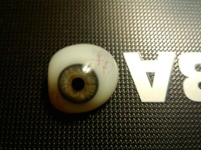 VINTAGE ANTIQUE Prosthetic Glass Human EYE Blue Gray Military