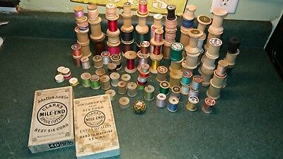 Large Lot Wood Spools Crafting + Box