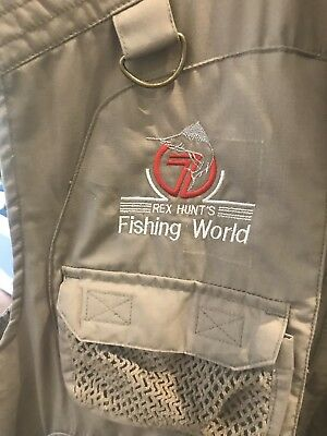 Thomas Cook Mens Outdoor Fishing Vest With Rex Hunt Logo On Front.