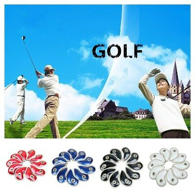 Golf Club Iron Head Covers 10 Pcs Headcovers PU Leather Blue Black Red Covers