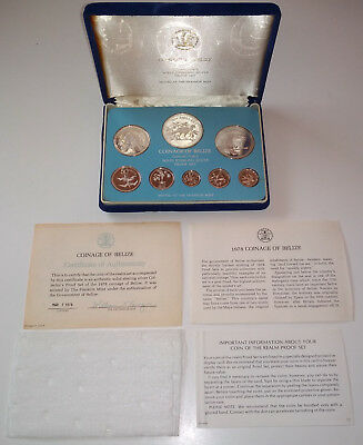 1978 Coinage of Belize Collector's Solid Sterling Silver Proof Set Franklin Mint