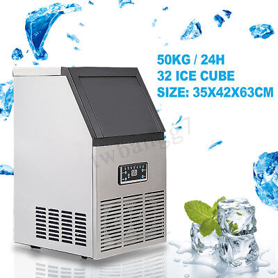 220V 50KG Auto Commercial Ice Maker Cube Machine Air Cooled Stainless Steel Gift