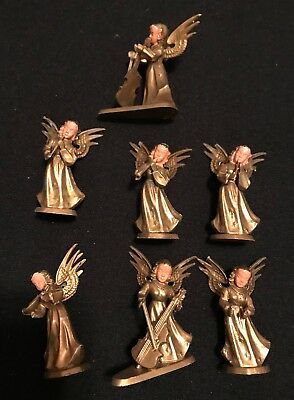 7 VINTAGE Gold ANGELS w/ Painted Faces Playing MUSICAL INSTRUMENTS HONG KONG