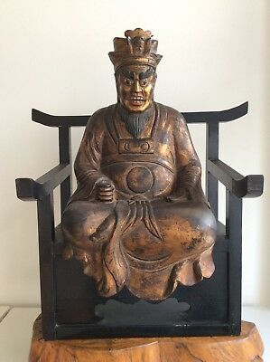 Japanese Old Enma Statue / Devil 閻魔 Yamathe King of Hell / Big W 55× H 62.5 [cm]