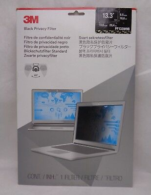 3M BLACK PRIVACY FILTER for 13.3 inch Widescreen (16:9) Monitor PF133W9B
