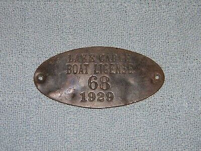 Original Small Brass Boat License Plate 1929 Lake Cable Canton, OH