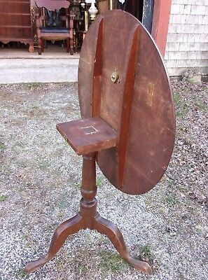 ANTIQUE EARLY AMERICAN 18th CENTURY TILT TOP WALNUT NEW ENGLAND TEA TABLE