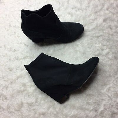 Tory Burch Black Suede Casual Wedge Heel Ankle Boots Size 7M Stretch D3