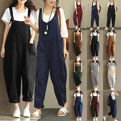 2019 UK Womens Loose Baggy Overalls Strappy Dungarees Oversize Ladies Jumpsuit