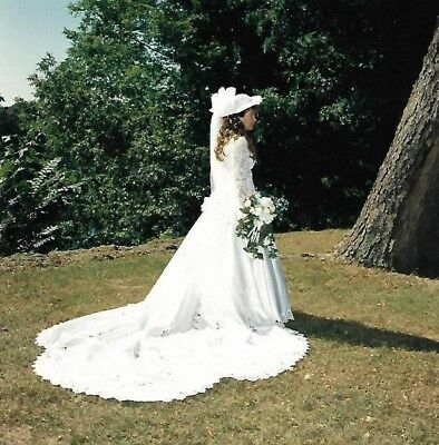 VICTORIAN with LACE and BEADED WEDDING GOWN