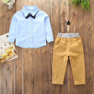Kid Baby Page Boy Christening Formal*Wedding*Tuxedo 2pc Suit in Matching Bow Tie