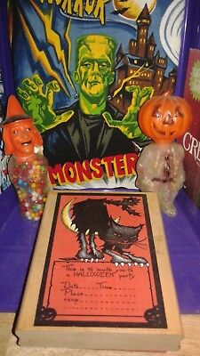 """Halloween """"giant"""" Party Invitation Rubber Stamp & Witch, Pumpkin Candy Holders"""