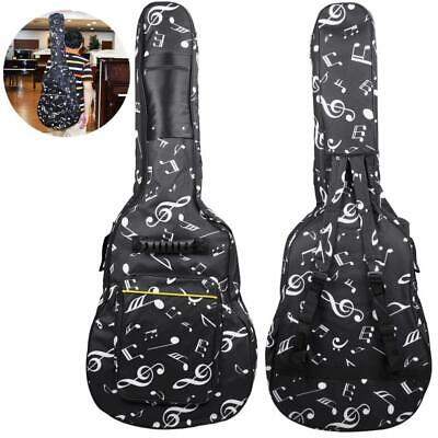 40 / 41 Inch Musical Note Folk Acoustic Guitar Case Gig Bag Double Straps Canvas