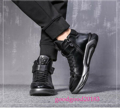 Mens Zipper Fleece Lining Warm Athletic Sport Shoes Black Soft Running Lace Up S