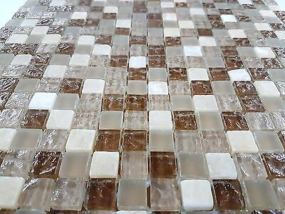 Glass and Stone Mix Mosaic Light Brown Textured Feature Tile 15x15 310x310 sheet