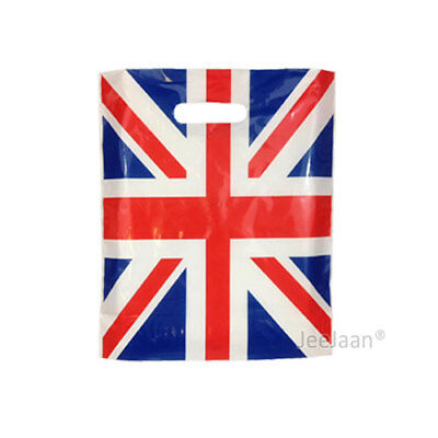 """Union Jack Flag Plastic Carrier Bags 15""""x18""""+3"""" Celebration Occasion Pack of 200"""