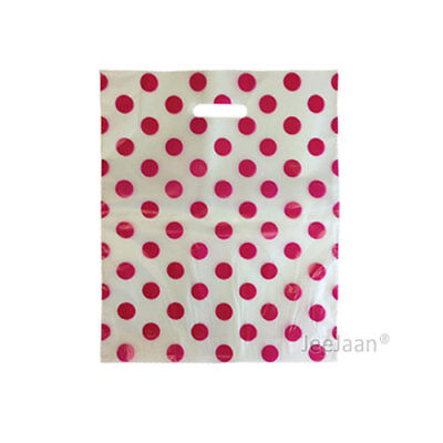 """Polka Dots Pink Plastic Carrier Bags 15""""x18""""+3"""" Gift Celebration Pack of 200"""