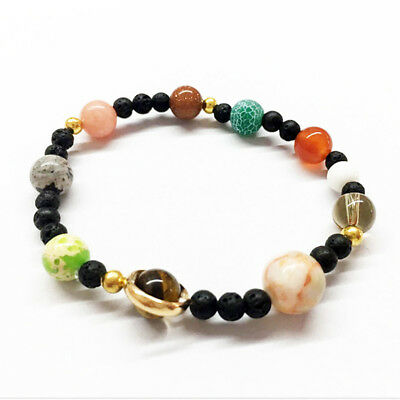 Female Creative Solar System The Eight Planets Beaded Elastic Strand Bracelet LH